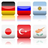 Square national flags icon set Stock Image