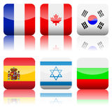 Square national flags icon set Royalty Free Stock Photos