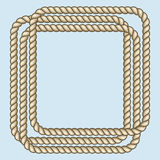 Square nautical brown ropes frame Royalty Free Stock Images