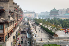 Square near the Bell Tower in Xian obscured in the smog Royalty Free Stock Photos