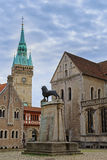 Square near Braunschweig cathedral with lion statue Royalty Free Stock Photo