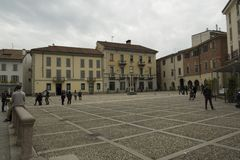 Square near Cathedral in Monza, Italy stock images