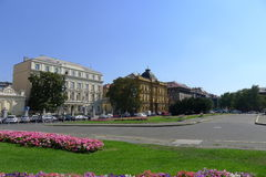 Square near Croatian National Theatre in Zagreb Stock Photos
