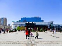 Square near Saint Sophia Church of Harbin. Tourists traveling the square near Saint Sophia Church of Harbin in Heilongjiang province China stock photo