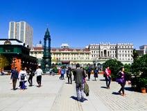 Square near Saint Sophia Church of Harbin. Tourists traveling the square near Saint Sophia Church of Harbin in Heilongjiang province China royalty free stock photos