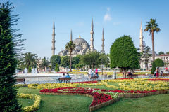 Square near Sultan Ahmet Mosque or Blue Mosque. Istanbul, Turkey Stock Photo