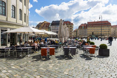 Square Neumarkt and street cafes in the old town. Royalty Free Stock Photo