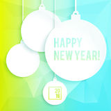 Square New Year design with paper Christmas balls Royalty Free Stock Photography