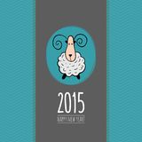 Square New Year greeting card with sheep. New Year greeting card with sheep - chinese symbol of 2015 year stock illustration