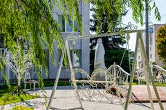 Square of the newlyweds in the city of Balabanovo, wedding facilities stock images