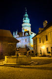 Square during the night on the castle in Cesky Krumlov, Czech Republic Royalty Free Stock Photography