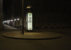 Square by night  and street advertisement Royalty Free Stock Photography