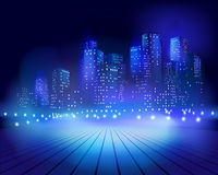 Square at night. Vector illustration Royalty Free Stock Photography