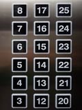 Square Number pads on lift panel system with aluminium steel blur reflective Stock Images