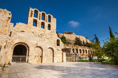 Square and Odeon of Herodes Atticus in Athens. Square and Odeon of Herodes Atticus during summer in Athens, Greece Royalty Free Stock Photos