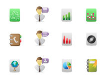 Square office icons set Royalty Free Stock Photo