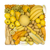 Square ofyellow fruits and vegetables Stock Photo