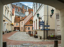 Square in old city of Riga. Riga is the capital and largest city of Latvia, a major industrial, commercial, cultural, historical and financial center of the Royalty Free Stock Image