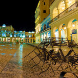 Square in Old Havana illuminated at night Stock Images