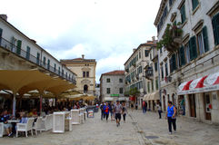 Square in Old Town,Kotor,Montenegro Stock Photos