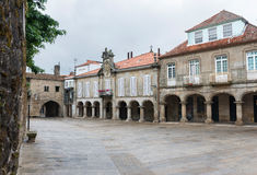 Square in the old town of Pontevedra in Galicia. Main square and traditional arches in the old town of Pontevedra in Galicia, Spain Stock Photo
