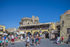 The square in the old town of rhodes Stock Image