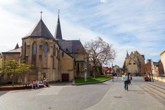 Square in the old town of Valkenburg, Germany Stock Photography