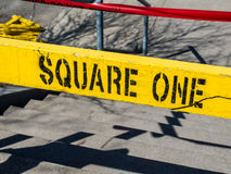 Square One Yellow Sign Stock Photos