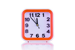 Square orange clock isolated on white background Royalty Free Stock Photography