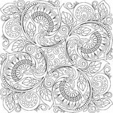 Square ornament background with hearts. Floral decorative pattern in zentangle style Royalty Free Stock Photos