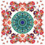 Square ornamental pattern with mandala, stylized peacocks, paisley and flowers. Square ornamental pattern with mandala, stylized peacocks, paisley and beautiful Stock Photo