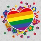 Square Ornaments Rainbow Heart Flowers. Ornaments with rainbow heart and flowers on the gray background Stock Photos