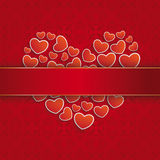Square Ornaments Red Banner Heartsheart. Ornaments with banner and hearts on the red background Stock Image