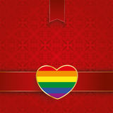 Square Ornaments Red Banner Rainbow Heart. Ornaments with banner and rainbow heart on the red background Royalty Free Stock Images