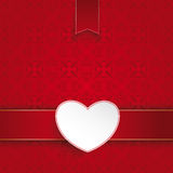 Square Ornaments Red Banner White Heart Emblem. Ornaments with banner and heart on the red background stock illustration