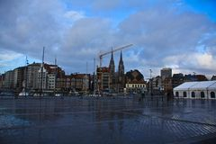 Square in Ostende. Belgium near railway station Royalty Free Stock Photo