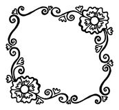 Square painted black and white vector frame with flowers and swi. Square elegant black-and-white drawn vector frame with flowers and curls on a white background Stock Photos