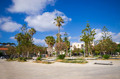 Square with palm trees in Rethymnon, Crete Royalty Free Stock Images