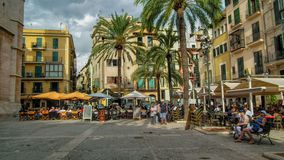 The square Palma. Taken in Palma Mallorca na busy square of Bars and Restaurantes Royalty Free Stock Image