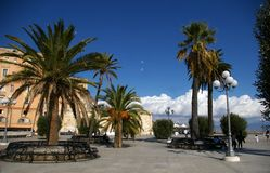 Square with palms and benches. Stock Image