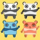 Square panda cartoon character Stock Image