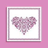 Square card with cutout pattern in shape of heart. Square panel with cutout heart pattern, lace doily, vector template for laser cutting, ornamental decoration vector illustration