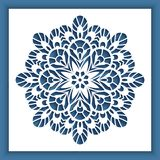 Square panel with cutout round pattern. Ornamental decoration for laser cutting or wood carving Royalty Free Stock Photos