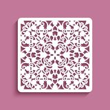 Square panel with cutout lace pattern. Ornamental tile, elegant template for laser cutting vector illustration