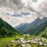 Square Panorama of Aru Valley, Jammu and Kashmir, India. The breathtakingly beautiful Aru valley in Anantnag District of Jammu & Kashmir, India. The majestic Stock Photography