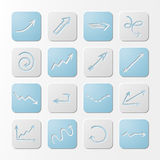 Square paper arrows icons. Stock Image