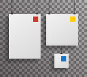 A4 Square Paper Big Little Realistic Poster Icon Set Template Transperent Background Mock Up Design Vector Illustration Stock Photo