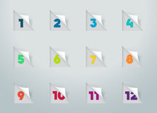 Square Paper Cut Out Notes With Numbers For Calendar 1 to 12 a Royalty Free Stock Images