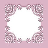Square paper lace frame Stock Image