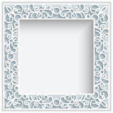 Square paper lace frame. Square frame with paper swirls,  ornamental lace background, greeting card or wedding invitation template Royalty Free Stock Images